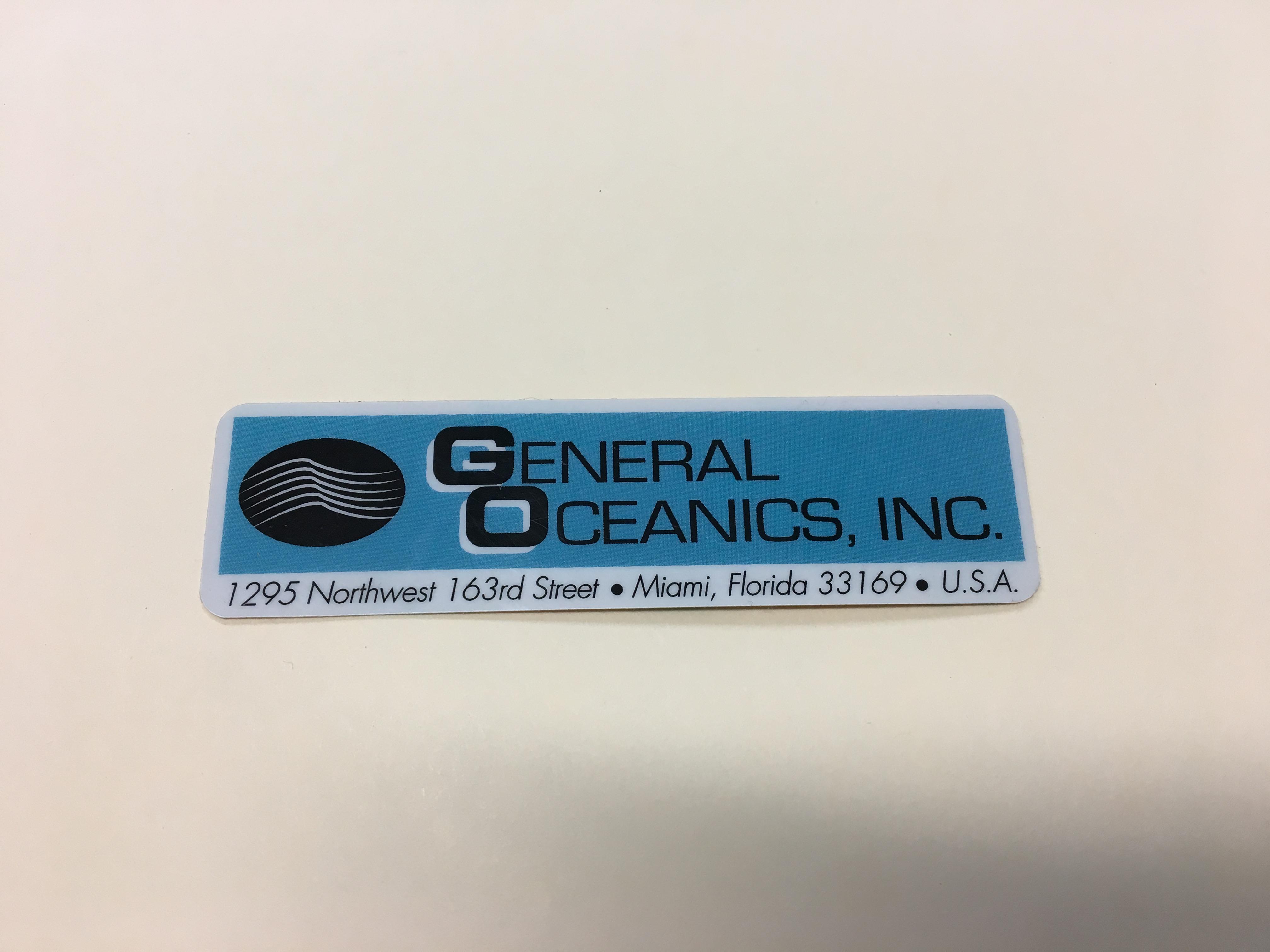 LABEL,General Oceanics Inc. 940 X3.50